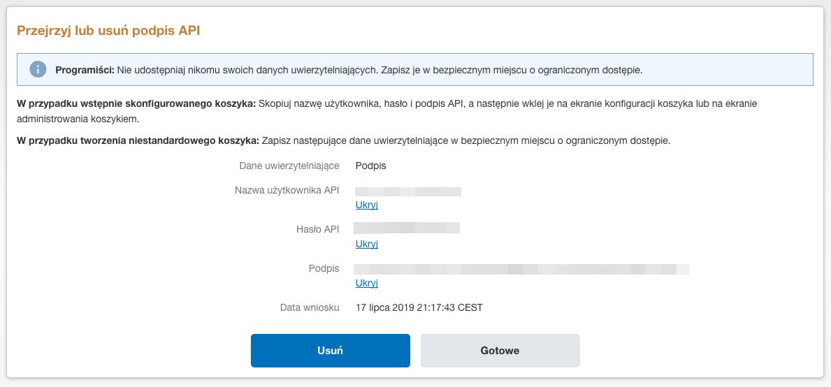 Płatności cykliczne PayPal - Klucze API