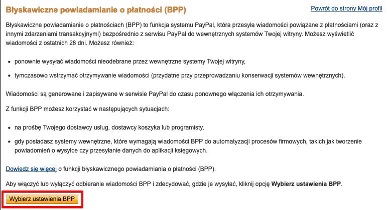 PayPal Ustawienia BPP
